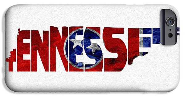 Modern Pyrography iPhone Cases - Tennessee Typographic Map Flag iPhone Case by Ayse Deniz