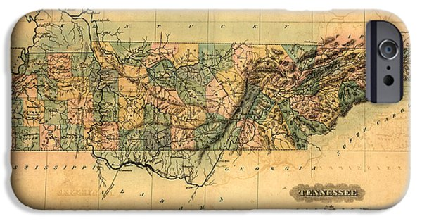 Tennessee Drawings iPhone Cases - Tennessee Vintage Antique Map iPhone Case by World Art Prints And Designs