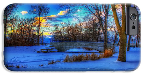 Snowy Stream iPhone Cases - Tenney Park Winter Sunset - Madison Wisconsin iPhone Case by Mountain Dreams