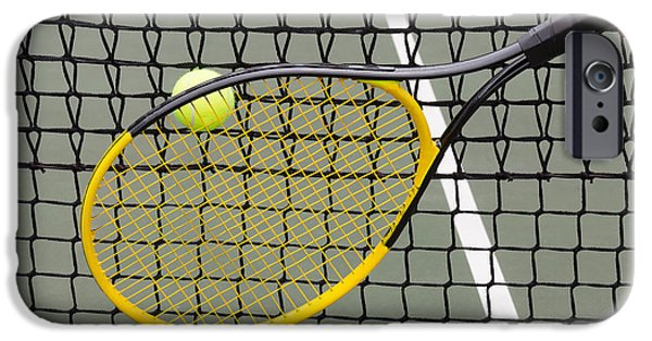 Hard Court iPhone Cases - Tennis Ball into Net during game  iPhone Case by Tom  Baker