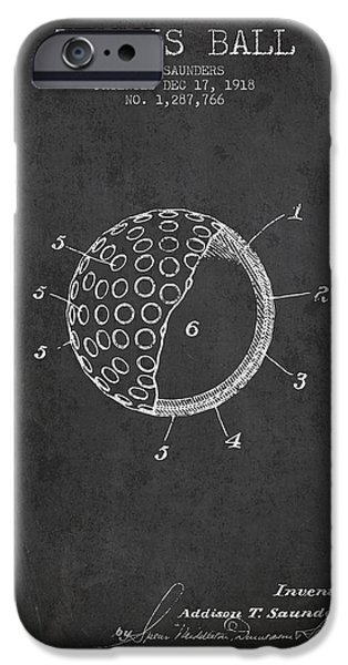 Tennis Player iPhone Cases - Tennis Ball Patent from 1918 - Charcoal iPhone Case by Aged Pixel