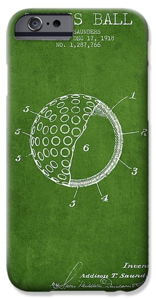Tennis Player iPhone Cases - Tennis Ball Patent from 1918 - Green iPhone Case by Aged Pixel