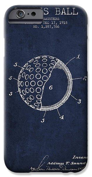 Tennis Player iPhone Cases - Tennis Ball Patent from 1918 - Navy Blue iPhone Case by Aged Pixel