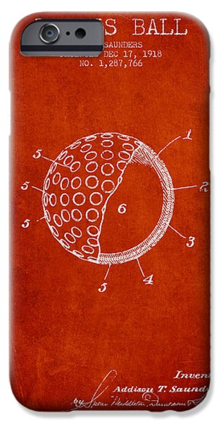 Tennis Player iPhone Cases - Tennis Ball Patent from 1918 - Red iPhone Case by Aged Pixel