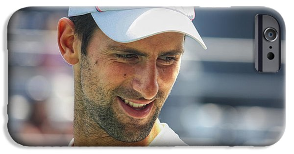 Wimbledon Photographs iPhone Cases - Tennis Champion Novak Djokovic iPhone Case by Nishanth Gopinathan