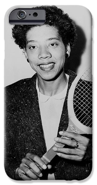 Racquet iPhone Cases - Tennis Great Althea Gibson 1956 iPhone Case by Mountain Dreams