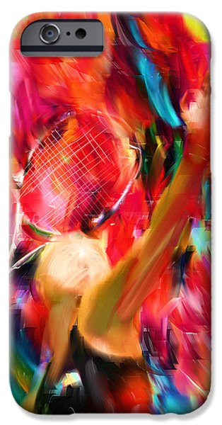 Collectible Digital Art iPhone Cases - Tennis I iPhone Case by Lourry Legarde