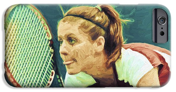 Painter Photographs iPhone Cases - Tennis IUPUI Digitally Painted DH iPhone Case by David Haskett
