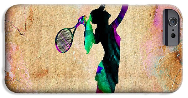 Womens Tennis iPhone Cases - Tennis Player iPhone Case by Marvin Blaine