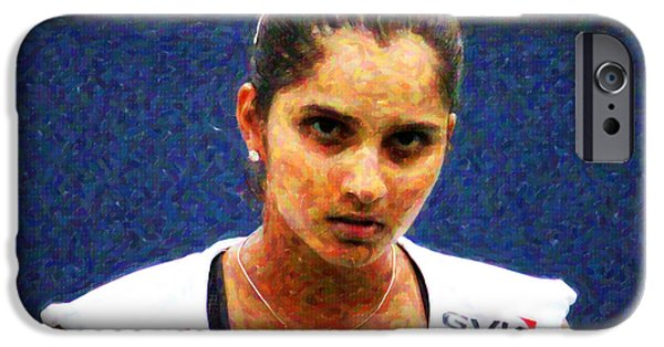 Wta iPhone Cases - Tennis Player Sania Mirza iPhone Case by Nishanth Gopinathan