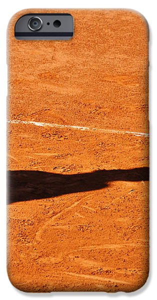 Tennis player shadow on a clay tennis court iPhone Case by Dutourdumonde Photography
