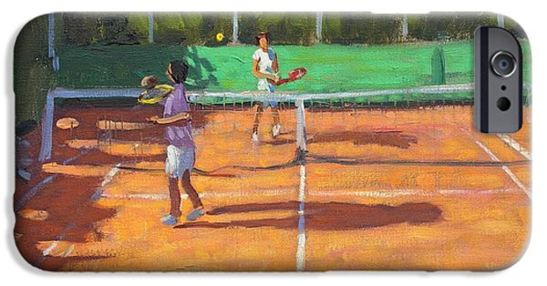 Net Paintings iPhone Cases - Tennis practice iPhone Case by Andrew Macara