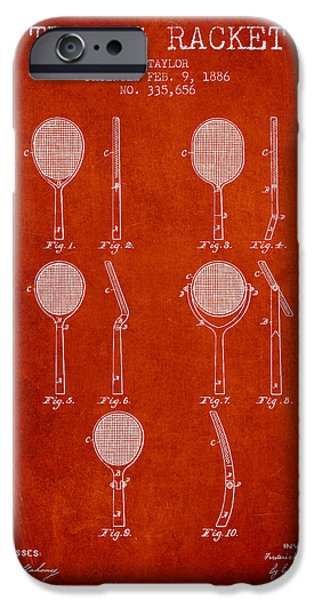 Tennis Player iPhone Cases - Tennis Racket Patent from 1886 - Red iPhone Case by Aged Pixel