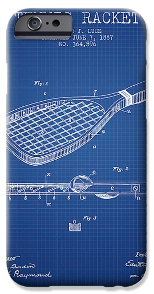 Tennis Player iPhone Cases - Tennis Racket Patent from 1887 - Blueprint iPhone Case by Aged Pixel