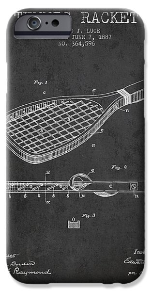 Tennis Player iPhone Cases - Tennis Racket Patent from 1887 - Charcoal iPhone Case by Aged Pixel