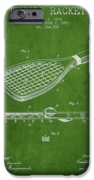 Tennis Player iPhone Cases - Tennis Racket Patent from 1887 - Green iPhone Case by Aged Pixel