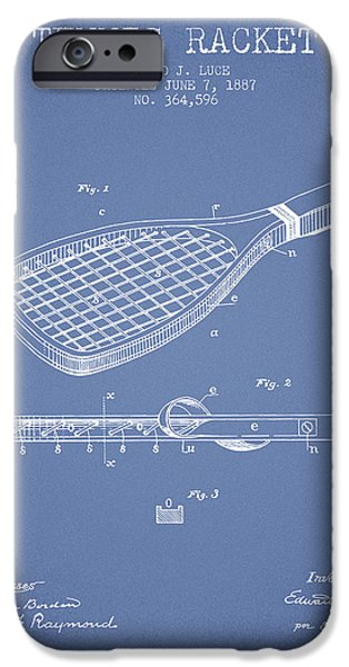 Tennis Player iPhone Cases - Tennis Racket Patent from 1887 - Light Blue iPhone Case by Aged Pixel