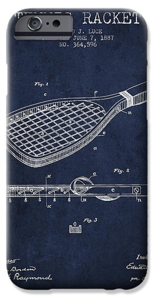 Tennis Player iPhone Cases - Tennis Racket Patent from 1887 - Navy Blue iPhone Case by Aged Pixel