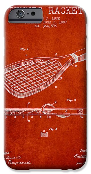 Tennis Player iPhone Cases - Tennis Racket Patent from 1887 - Red iPhone Case by Aged Pixel