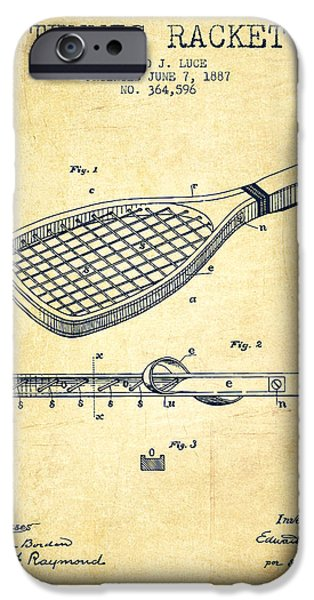 Tennis Player iPhone Cases - Tennis Racket Patent from 1887 - Vintage iPhone Case by Aged Pixel