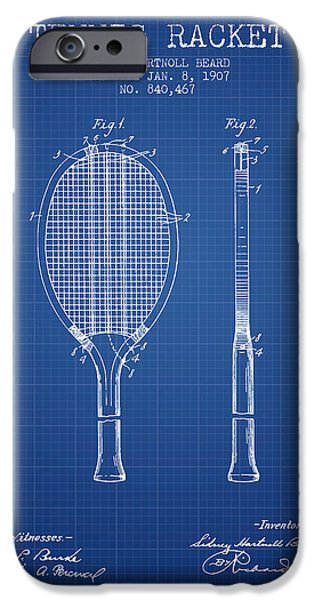 Tennis Player iPhone Cases - Tennis Racket Patent from 1907 - Blueprint iPhone Case by Aged Pixel