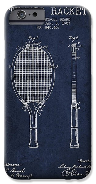 Recently Sold -  - Technical iPhone Cases - Tennis Racket Patent from 1907 - Navy Blue iPhone Case by Aged Pixel