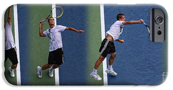 Wta iPhone Cases - Tennis Serve by Mikhail Youzhny iPhone Case by Nishanth Gopinathan