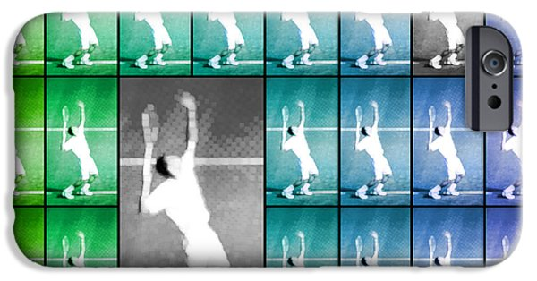 Wimbledon iPhone Cases - Tennis Serve Mosaic Abstract iPhone Case by Natalie Kinnear