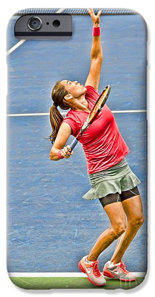 Tennis Star Jamie Hampton iPhone Case by Harold Bonacquist