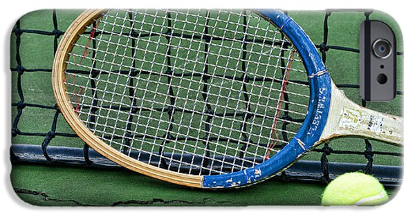 Volley iPhone Cases - Tennis - Vintage Tennis Racquet iPhone Case by Paul Ward