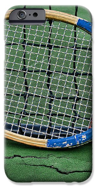 Tennis - Vintage Tennis Racquet iPhone Case by Paul Ward