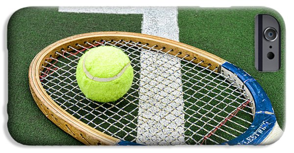 Volley iPhone Cases - Tennis - Wooden Tennis Racquet iPhone Case by Paul Ward