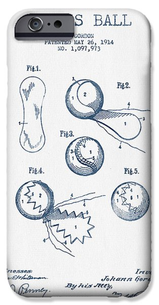 Tennis iPhone Cases - Tennnis Ball Patent Drawing from 1914  -  Blue Ink iPhone Case by Aged Pixel