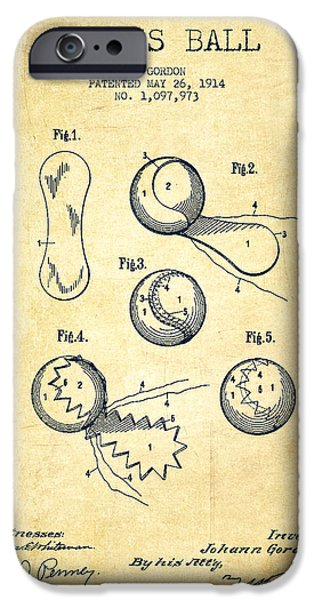Tennis Ball iPhone Cases - Tennnis Ball Patent Drawing from 1914 - Vintage iPhone Case by Aged Pixel