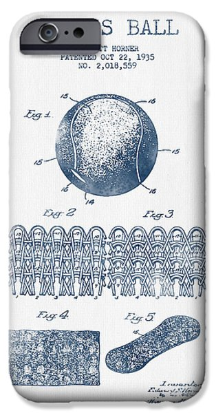 Tennis iPhone Cases - Tennnis Ball Patent Drawing from 1935  -  Blue Ink iPhone Case by Aged Pixel