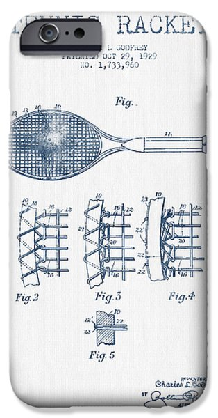 Tennis iPhone Cases - Tennnis Racket Patent Drawing from 1929  -  Blue Ink iPhone Case by Aged Pixel
