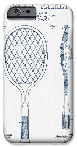 Tennis Ball iPhone Cases - Tennnis Racketl Patent Drawing from 1921 -  Blue Ink iPhone Case by Aged Pixel