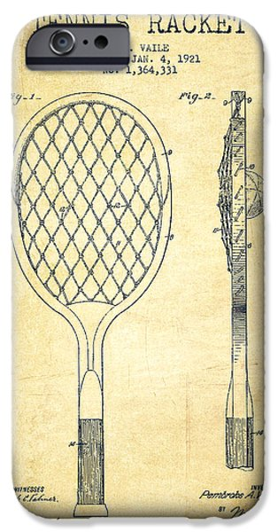 Recently Sold -  - Antiques iPhone Cases - Tennnis Racketl Patent Drawing from 1921 - Vintage iPhone Case by Aged Pixel
