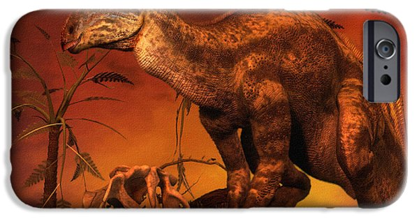 Mounds Digital iPhone Cases - Tenontosaurus Was An Ornithopod iPhone Case by Philip Brownlow