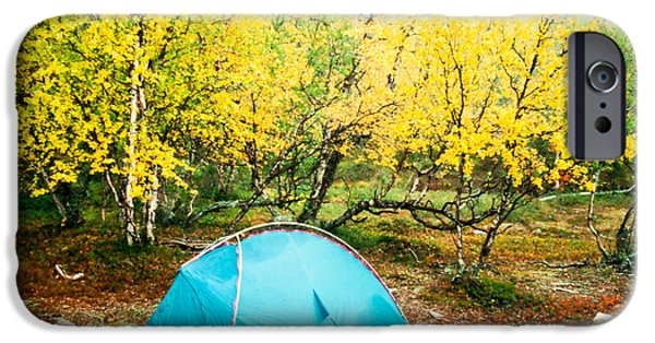 Autumn iPhone Cases - Tent pitched in fall under yellow birch trees iPhone Case by Stephan Pietzko