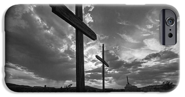 Cemetary iPhone Cases - Terlingua Cemetary  iPhone Case by Ronnie Prcin