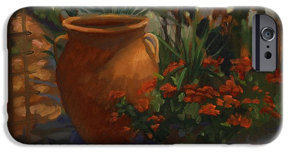 Terra Paintings iPhone Cases - Terra Cotta Garden iPhone Case by Maria Hunt