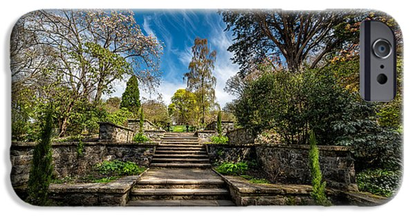 Walkway Digital Art iPhone Cases - Terrace Garden iPhone Case by Adrian Evans