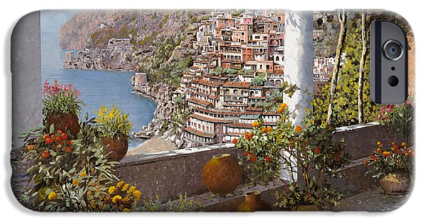 Italy iPhone Cases - terrazza a Positano iPhone Case by Guido Borelli