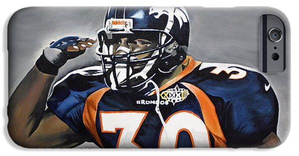 Don Medina iPhone Cases - Terrell Davis  iPhone Case by Don Medina