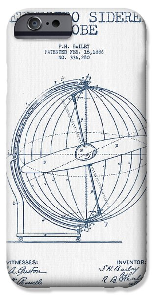 Earth Map Digital iPhone Cases - Terrestro Sidereal Globe Patent Drawing From 1886- Blue Ink iPhone Case by Aged Pixel