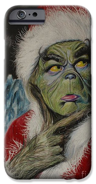 Santa Drawings iPhone Cases - Terrible One iPhone Case by Joshua Navarra