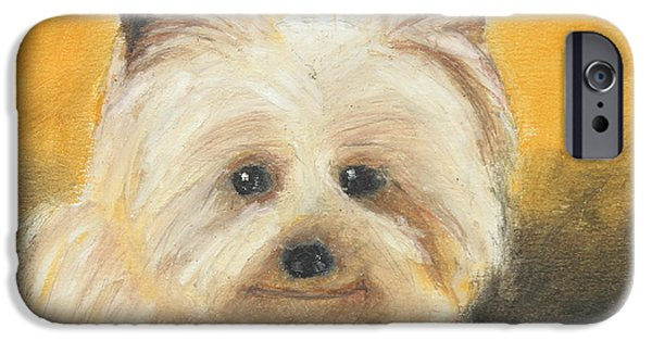 Small iPhone Cases - Terrier iPhone Case by Jeanne Fischer