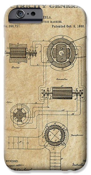Dynamos iPhone Cases - Tesla Alternating Current 3 Patent Art 1888 iPhone Case by Daniel Hagerman