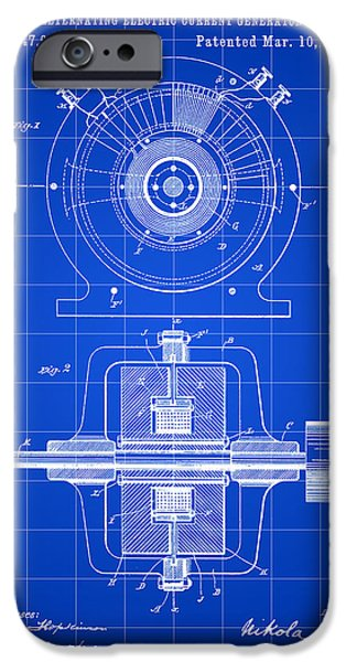 Capacitors iPhone Cases - Tesla Alternating Electric Current Generator Patent 1891 - Blue iPhone Case by Stephen Younts